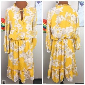 ADRIANA PAPELL flowy floral dress, ruffles, yellow